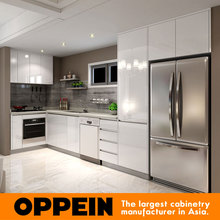 OPPEIN white lacquer simple style kitchen cabinets