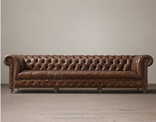 Classical Model Tufted Linen Fabric Chesterfield Leather Sofa