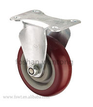 Professional manufacturer double ball bearings rigid pu caster wheels wholesale