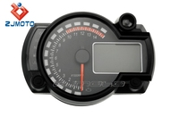 ZJMOTO Universal Adjustable LCD Digital Meter Street Fighters Motorcycle Odometer Speedometer Tachometer for Most Motor Bikes