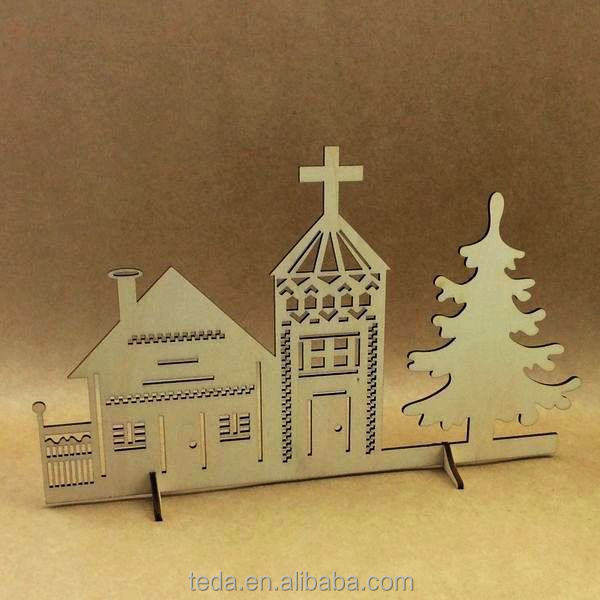 Laser Cut Wood Village Christmas Holiday Decor Apartment