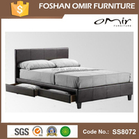 pu bed frame with storage drawers