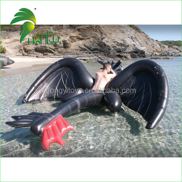 Inflatable Animals Pool Toys , Black Dragon Toy for Summer