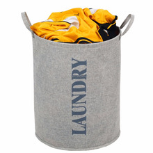 High Quality Waterproof Storage Bin/Bag Linen & Cotton Foldable Storage Basket Oversize Laundry Clothing Bin with Handles