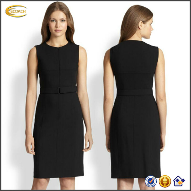 OEM wholesale 2015 Women Curved hemline Concealed two-way back zip pencil silhouette tank office dress uniforms