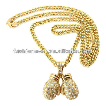 "New Iced Out Boxing Gloves Pendant 6mm&36"" Cuban Link Chain Hip Hop Necklace"