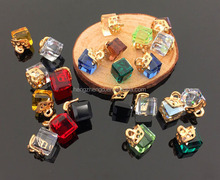 Wholesale accessories jewelry 8mm colorful square glass charm pendant