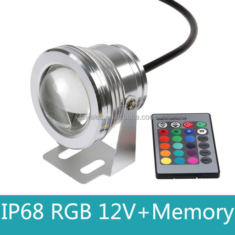 15W DC 12V RGB LED Underwater Light 16 colors change with remote control Fauntain Tank Pool Light IP68