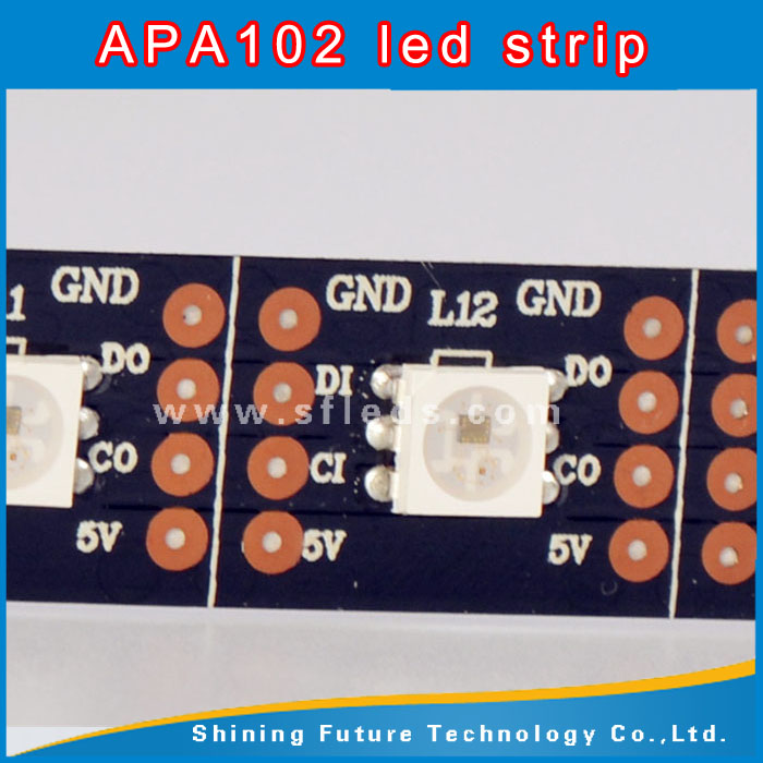 Wholesale apa102 144 led pixel strip 5V apa102 IC rgb dream color led strip with connector