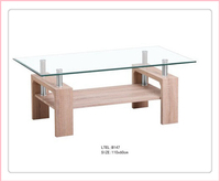 Good Selling New Fashion Glass Top Wood Frame Dining Table