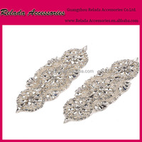 Garment accessories custom Embroidered bridal crystal beaded neckline sash belts rhinestone applique iron on dance appliques