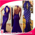 Sexy royal blue lace insert plus size western dresses with halter for lady