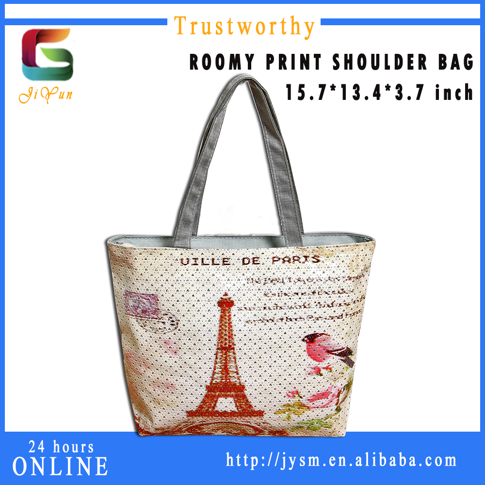 2016 Printing Man-made Retro Eiffel Tower Good Quality Leather Low Price Teenager College Women Bags Shoulder Bag wholesale
