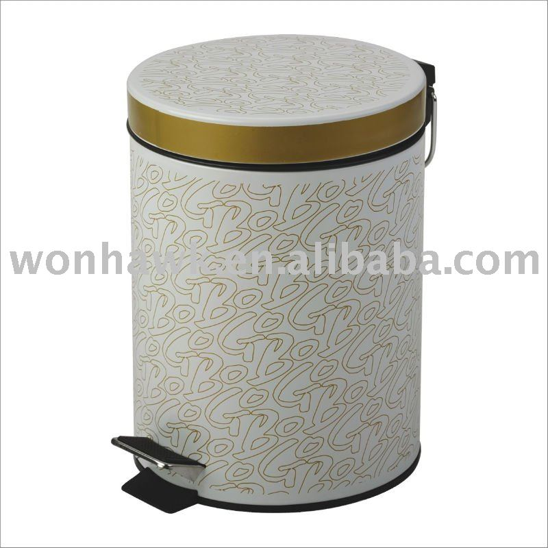 Elegant Golden Pattern Trash Can