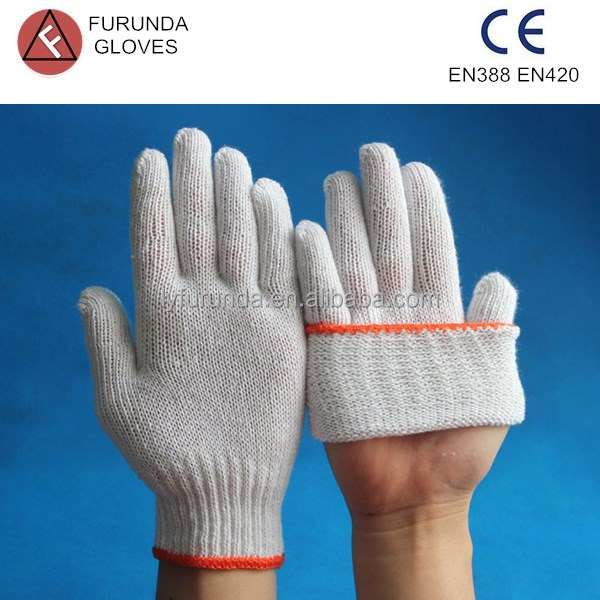 8-11bleached white cotton working gloves with best quality/cotton hand gloves/safety working glove