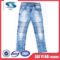 Stock lot wholesale chinese making jeans denim fabric poly and cotton