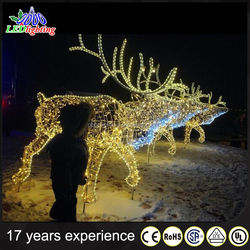 Chinese manufacturer waterproof led acrylic reindeer sleigh christmas decoration
