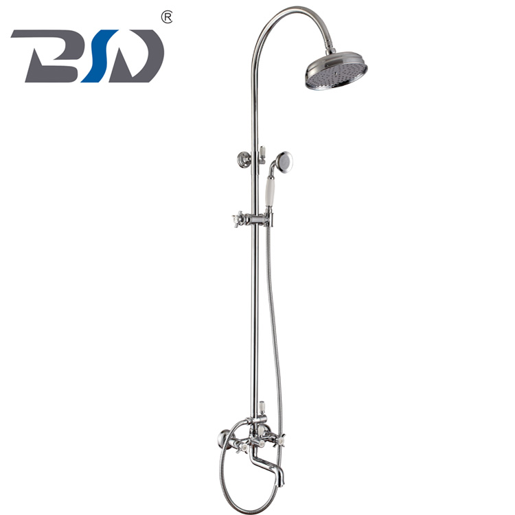Wall Mounted Traditional Bathroom Brass Shower Set Classic Exposed Rain Shower System With Brass Showerhead