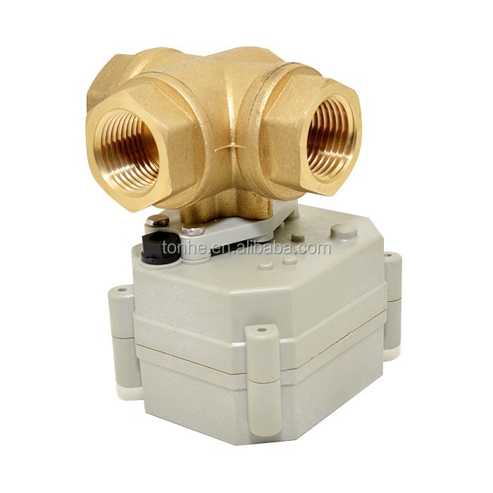 "Normally closed 3 Way 1""inch T bore 9V to 35V Electric Actuator Brass ball Valve with Manual Function (T25-B3-B)"