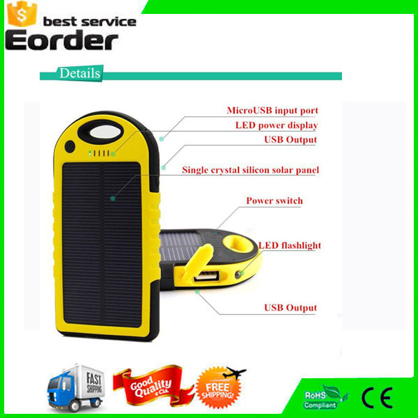 Universal Waterproof External Solar Power Bank Battery USB Charger for cell phones