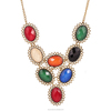 Oval Gemstone Necklace Imitation Necklace Jewelry