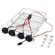 White RC Free Sanple 1:10 Roof Crawler Luggage Rack Tray LED Light Bar for Tamiya RC Trucks Body