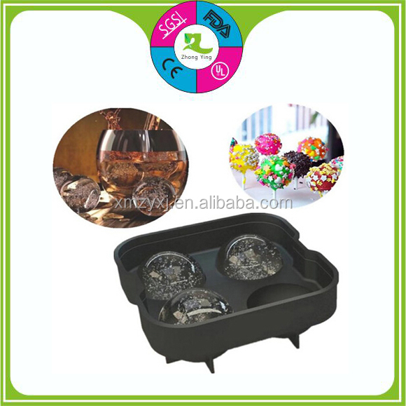 Food grade 100% Whisky 6 cavities silicon ice ball mold tray ice tray