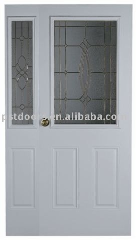 metal door with safety glass(pine wood stiles & rails)