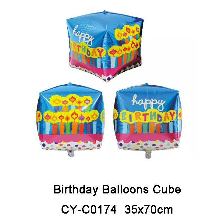 New Hot Sale Happy Birthday Cube Shape Ballons Helium Decoration Ballons