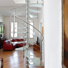 Attic use glass treads spiral stairs / helical staircase for indoor design