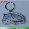 2017 Wholesale custom blank acrylic bus keychain for promotion gift