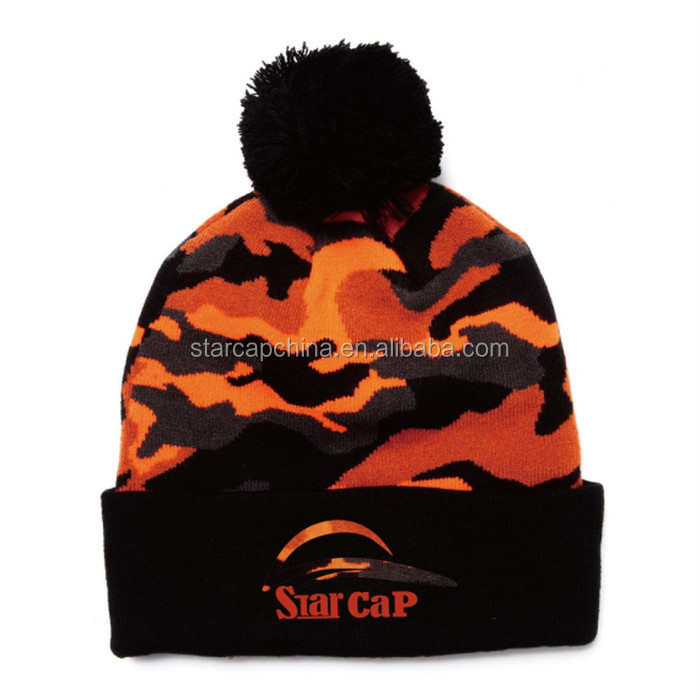 FASHION 3D EMBROIDERY FOLD KNIT BEANIE HAT FACTORY