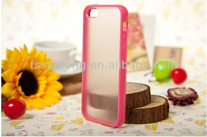 Color change back cover for iphone 5/super fashional tpu bumper + matte pc backside case for iphone 5
