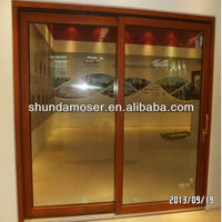 German style solid wood frame tilt and sliding glass door