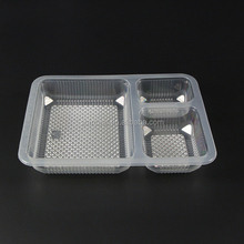 customized 5 compartments black color disposable plastic pp lunch tray