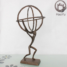 metal bronze sculpture with globe decoration