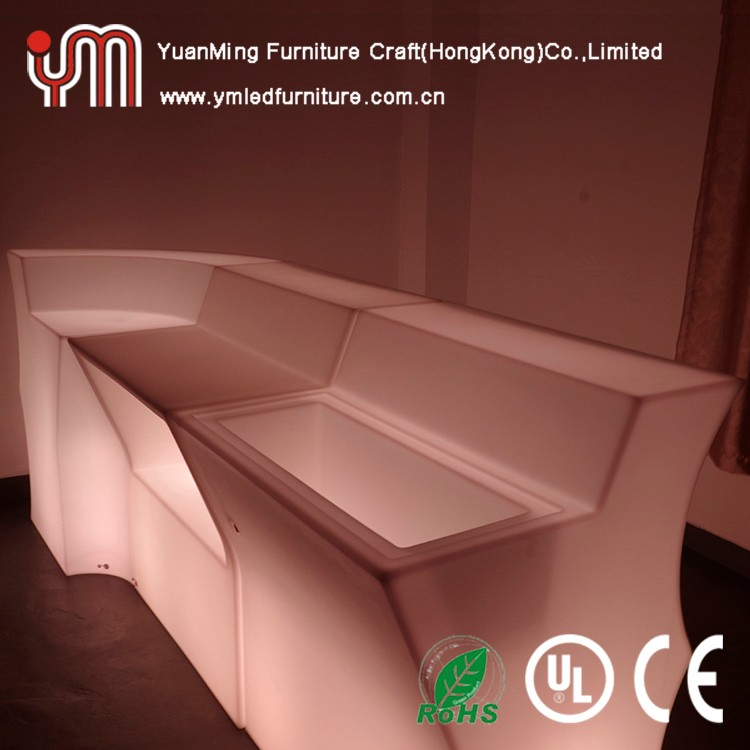 Led Illuminated Modular Corner Wave Glowing Bar Table