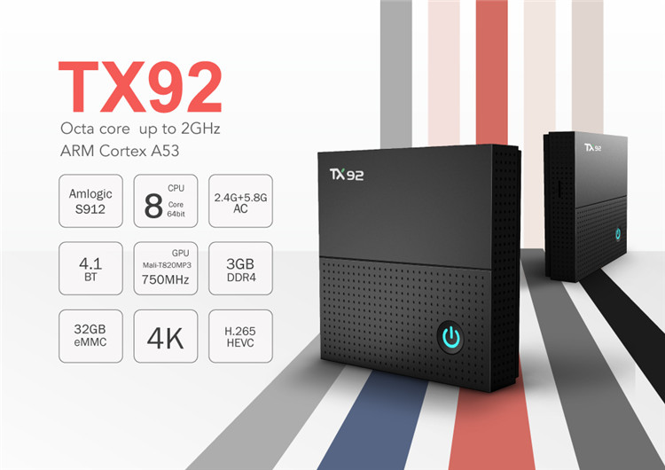 TX92 tv box android hd set top box video Android 7.1 S912 3G 64G