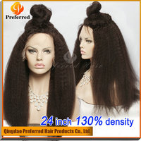 High pony tail Afro kinky Brazilian human hair lace front wig for black woman fast shipping