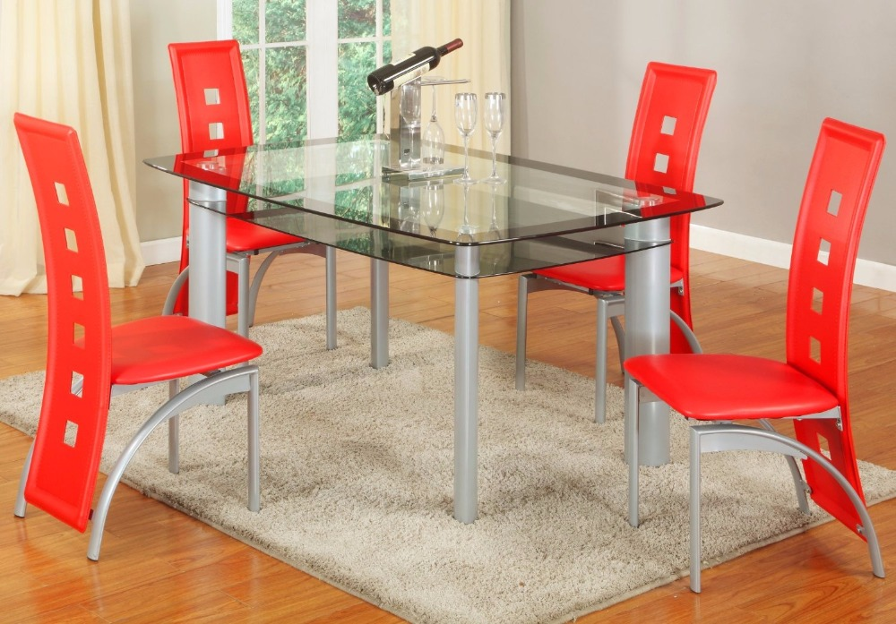 Nuohua Furniture Glass Dining Room Table Set