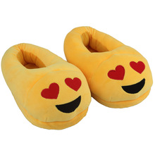 Womens Girls Emoji Smiley Heart Eyes Plush Slippers Creative Expression Velvet House Shoes