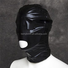 PVC Leather Look Open Mouth Head Hood, Fetish Bondage Restraint Mask Sexy Toys for Men