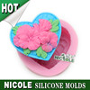 R1332 Nicole food grade flowers handmade 3d silicone mold soap factory