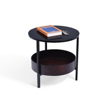 Fashion design MDF with solid wood veneer metal with powder coated high gloss PU top board side table with round tray
