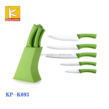 hot sale 5pcs green PP handle non-stick kitchen cooking knives set with plastic block