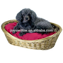 Practical comfortable wicker dog pet bed basket for sleeping
