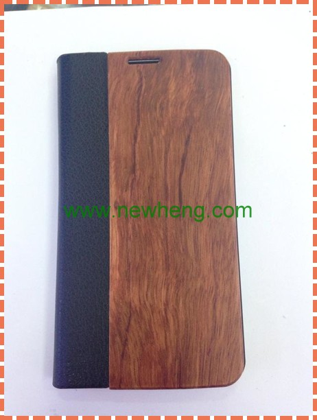 PU Leather + Real Wood Protective Case for Samsung Galaxy S5