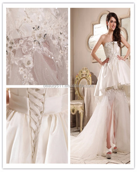 2018 A-Line Sweetheart Court Train Organza Wedding Dress with Appliques S093