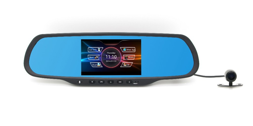 Hot selling rear view mirror DVR mini wireless camera car with GPS and Bluetooth functions with touch screen