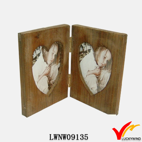 Vintage Handmade Desk Double Heart Hinged Photo Frames